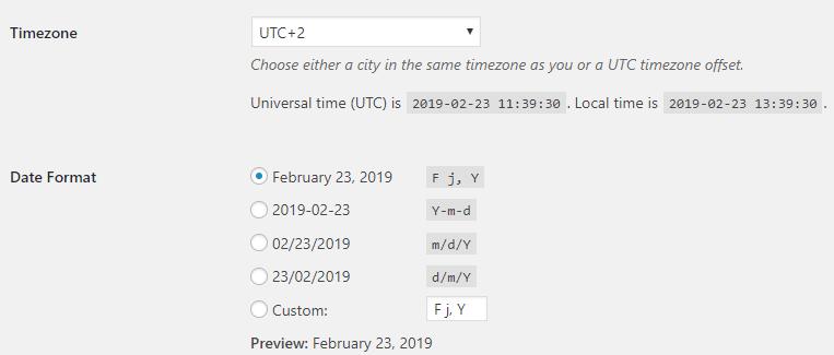 Change WordPress Timezone