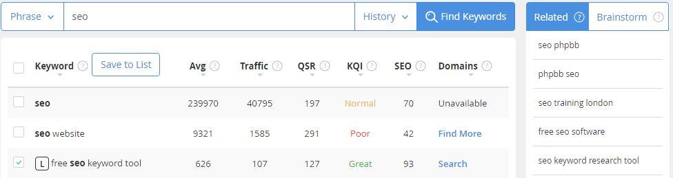 Jaaxy free seo keyword tool