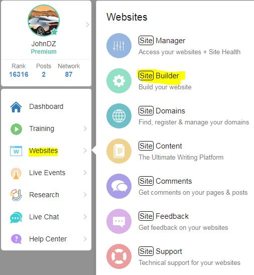 Wealthy Affiliate site builder menu